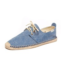 Canvas Derby - Stone Washed Marine Blue Espadrilles for Men from Soludos - Soludos Espadrilles