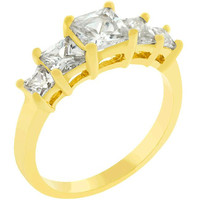 5-stone Anniversary Ring In Goldtone, size : 09