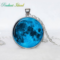 Full Moon Necklace Moon Pendant Galaxy Space  Blue AquaTurquoise  Jewelry Necklace for men  Art Gifts for Her(P11H02V01)
