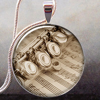 Flute and Music art pendant, music necklace resin pendant, flute jewelry, flute necklace charm