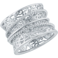 Southern Gates Filigree Band with 3 Rings in Sterling Silver