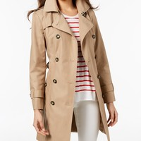 London Fog Hooded Double-Breasted Trench Coat - Sale & Clearance - Women - Macy's