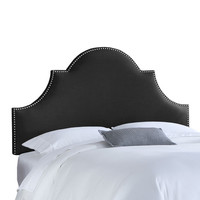 Skyline Furniture, Mfg. 821NB-PWLNNBLC Full Nail Button High Arch Notched Headboard in Linen Black