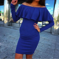 Caped Off Shoulder Bodycon Maternity Party Dress