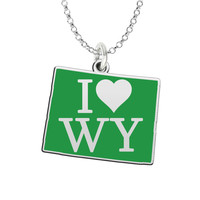 I Love Wyoming Sterling Silver State Shape Necklace