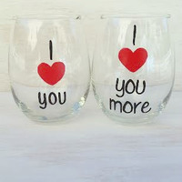 I Love You, I Love You More hand-painted stemless wine glass set