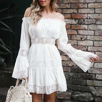 Lily Rosie Girl Flare Long Sleeve Lace Short Dress Beach Boho Party Casual Dress Elegant White Off Shoulder Dress Vestidos