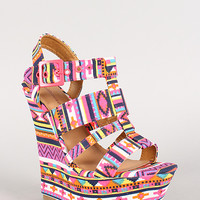Dollhouse Tribal Strappy Open Toe Platform Wedge