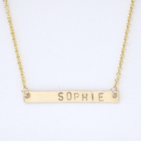 Personalized Gold Bar necklace - no. 2
