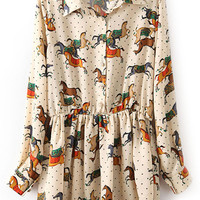 ROMWE Running Horse Print Pleated Cream Shirt Dress