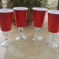 Set Of 4 Red Solo Cup Wine Glasses Redneck Hillbilly Fun Unique Gift Party Cups