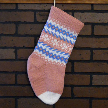 Baby's First Christmas Stocking, Hand Knit in Pink, White and Blue, Fair Isle Design, Can Be Personalized, Heirloom, Baby Shower Gift