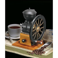Cast Iron Coffee Grinder with Wood Coffee Grounds Drawer