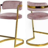 Stephanie Pink Velvet Stool (set of 2)