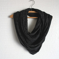 Charcoal Infinity Scarf - Black Scarves - Loop Scarf Infinity - Holiday Accessories