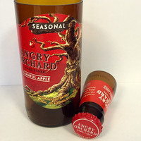 Cinnful Apple Angry Orchard Beer Bottle Shot Glass & Chaser Set. Recycled Glass Bottle. Man Cave. Groomsmen Gift.