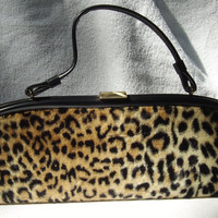 Vintage Leopard Print 15 inch long Handbag by Vintageables on Etsy