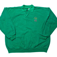 Vintage 90s Tahoe Skiing Long Sleeve Polo Shirt Made in USA Mens Size Large