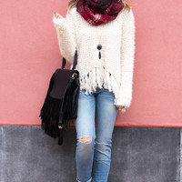 Fuzzy Knit Ivory Fringe Long Sleeve Sweater