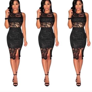 Women Sexy Club Party Elegant Black Lace Dress