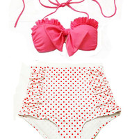 Pink Bow Top and White Red Polka dot dots High waist waisted Bottom Vintage Swimsuit Swimwear Bikini Swimsuits Bathing Bath Swim suit S M
