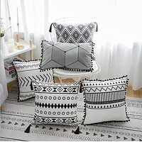 Black White Velvet Geometric Decorative Pillow Covers