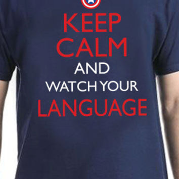 Keep Calm And Watch Your Language Funny Pop Culture The Avengers T-Shirt