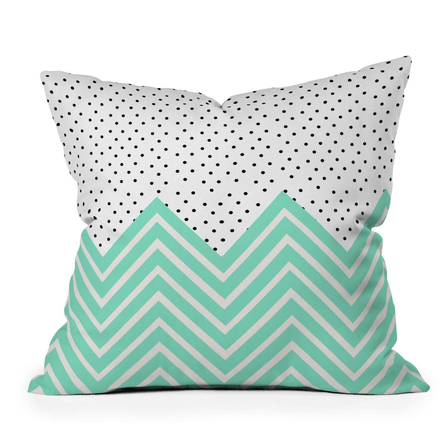Image of Allyson Johnson Minty Chevron And Dots Throw Pillow