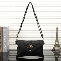 """Coach"" Women Casual Fashion Simple Classic  Letter Single Shoulder Messenger Bag Button Small Square Bag"