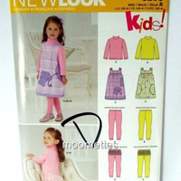 Simplicity 6256 Play Jumper Dress Pants Sewing Pattern Girls 1 2 3 4 Uncut FF
