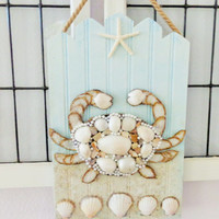Coastal Art- Seashell Crab Collage- Mixed Media Beach Art- Wood Ocean Decor- 11X17 inches