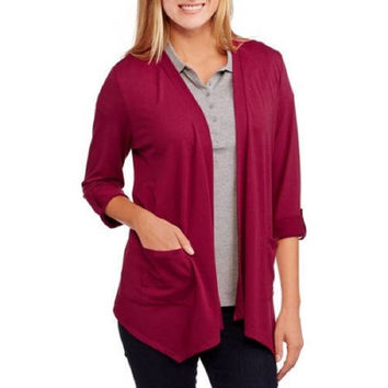 Concepts Women's Soft Knit Flyaway Cardigan, Burgundy, X-Large