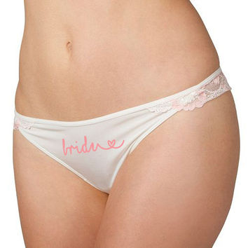 Custom bride thong panties for women - Bride to be Gift - Nylon panties - Wedding night lingerie - Peach wedding gift for bride - Lace Panty