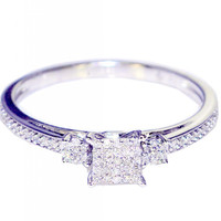 0.15CTTW Diamond Engagement Ring Promise Ring Square Shaped  Pave Set