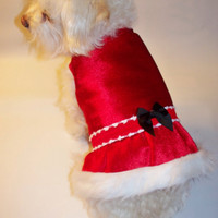 RockinDogs Red Velvet and Fur Christmas Dress for Dogs