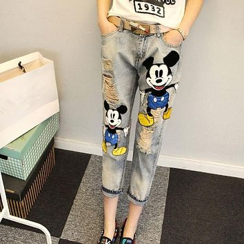 Women Ripped Jeans Autumn New Fashion Clothes New Cartoon Printed Denim Pants Vinatge Bleached Loose Ankle-Length Jeans 62455