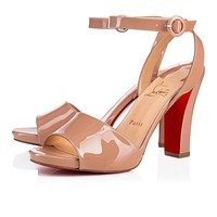 Christian Louboutin Cl Havana Forties Nude Patent Leather 18s Sandals 1180721pk1a