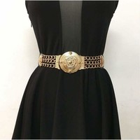 Elastic Wide Gold Metal Waist Chain Fashion Belt