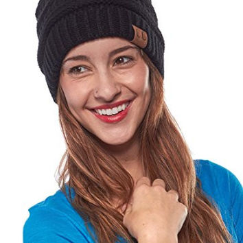 Thick Slouchy Knit Oversized Beanie Cap Hat, Gift Set - Black & Taupe Blend