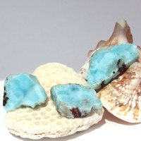 3 Larimar Slabs 19g 95ct Sky Blue Marbled Lapidary Cabbing Display Caribbean Beach Pectolite Slice Rough Raw Stone