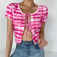 New lace tie-dye sexy cardigan top women's short-sleeved t-shirt pink