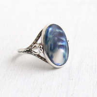 Vintage Sterling Silver Mother of Pearl Ring - Size 5 Oval Blue Shell Filigree Jewelry