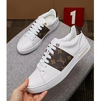 LV Louis Vuitton tide brand men's casual wild flat-bottomed sneakers White