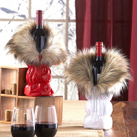 Wine Bottle Holder Bag Winter Parka Red White Cozy Table Top Decor Gift Idea NEW