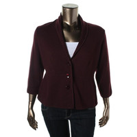 Alfani Womens Plus Knit Peplum Casual Blazer