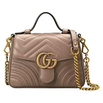 Gucci sells lady's double G fashion V-type leather mini-handbag 4#