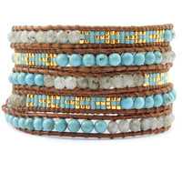 Turquoise Beaded Mix Wrap Bracelet on Natural Brown Leather - Chan Luu