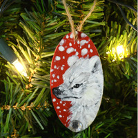 Polar Bear Wooden Ornament Hand Painted Holiday
