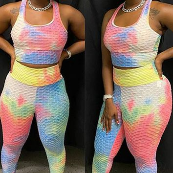 New women's fashion small feet pineapple lattice tie-dye colorful personality pants suit
