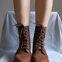The DARK CHESTNUT suede tall skinny lace up boots 8.5